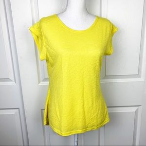 No Brand Yellow Short Sleeve High Low Top